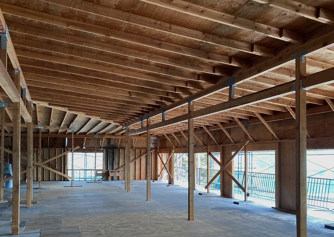 Stripped to studs and rafters