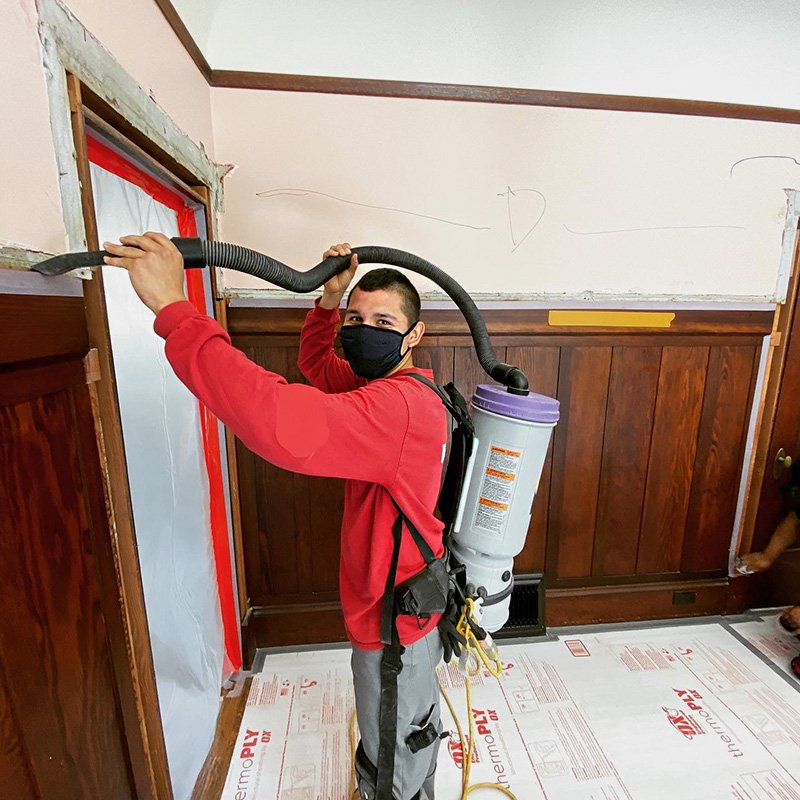 Thorough cleaning is a big part of demolition